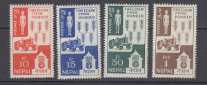 J28747, 1963 nepal set mnh #159-62 freedom from hunger