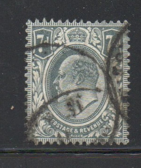 Great Britain Sc 145 1910 7d gray Edward VII stamp  used