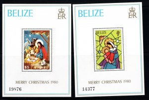 Belize SC533-534 2SS-Christmas 1980 Nativity-Madonna & Child MNH 1980