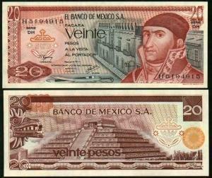 MEXICO BANKNOTE $20 Pesos 1977 Serie DH, Crisp, uncirculated.