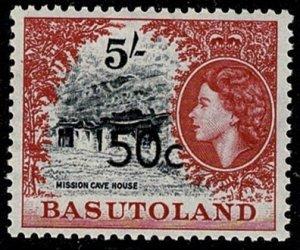 BASUTOLAND QE II 1961 50c-5/-BLACK & CARMINE Ty2 SG67a MH Wmk. MSCA P.13.5 VGC