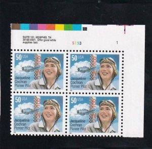 50c Jacqueline Cochran, Plate Block/4, Sc #3066, MNH (8190)