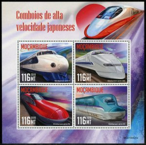 MOZAMBIQUE 2019 JAPANESE HIGH SPEED  TRAINS SHEET MINT NEVER HINGED