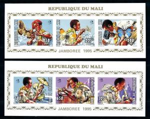 [76157] Mali 1999 Scouting Butterflies Mushrooms 2 Imperf. Mini Sheets MNH
