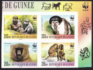 Guinea WWF Mangabey and Baboon 4 imperf stamps in block 2*2