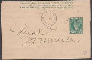 GRENADA 1891 QV ½d newspaper wrapper used to Dominica......................54742