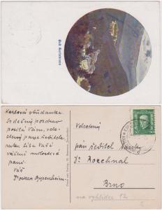 Czechoslovakia 1933 Postcard with KARLOVA STUDANKA Scene of Karlsbrunn