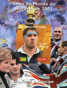Sao Tome & Principe 2004 Rugby Scott Murray Deluxe s/s mnh.vf