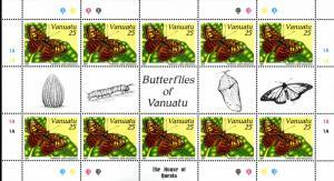 VANUATU 532-5 SHEETS OF 10  MNH SCV $89.50 BIN $45.00BUTTERFLYS