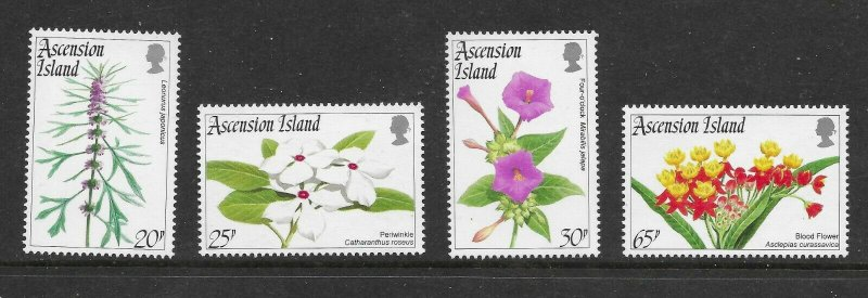 Ascension  604 - 607 (SG 643/6) Flowers - MNH - VF - CV$11.50