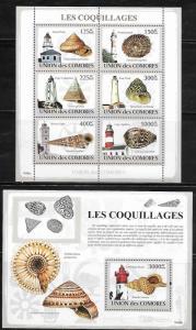 Comoro Islands 1083-84 Sea Shells and Lighthouses Mint NH