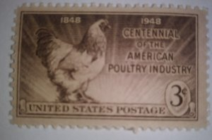 SCOTT # 968 POULTRY INDUSTRY SINGLE ISSUE MINT NEVER HINGED 1948 GEM