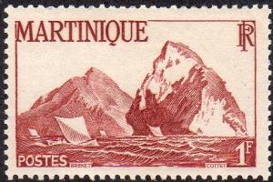 Martinique 221 - Mint-H - 1fr Sea Cliffs (1947) (cv $0.55)