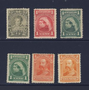 6x Newfoundland  Royal Family MH Stamps #78-79-80-80a-81-82 Guide Value = $60.00
