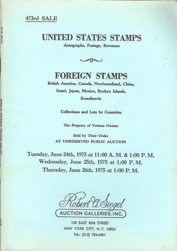 United States Stamps, Autographs, Postage, Revenues; Fore...
