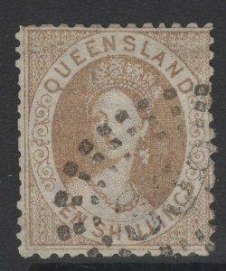 QUEENSLAND SG126 1880 10/= BISTRE-BROWN USED
