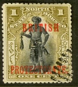 NORTH BORNEO 1901-05 1c DYAK CHIEF w BRITISH PROTECTORATE Ovpt Sc 105 VFU