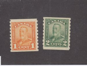CANADA (KSG765) # 160-161  VF-MNH 1-2cts KGV SCROLL ISSUE COILS  CAT VALUE $240