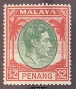 1949 Malaya Penang $2 Green & Scarlet, SG 21, MUH