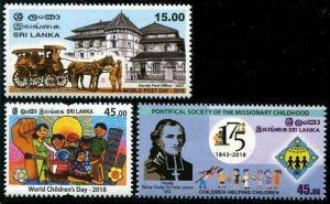 HERRICKSTAMP NEW ISSUES SRI LANKA Post Day 2018/Childrens Day/Pontifical Society