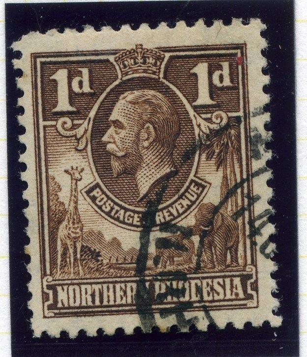 NORTHERN RHODESIA;  1920s early GV issue fine used value 1d.