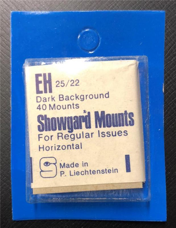 Stamp Mounts Supplies Showgard New 40 mounts 25mm by 22mm Black back Precut