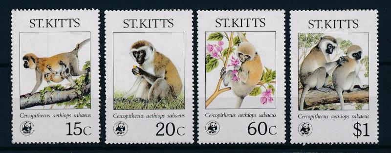 [54041] St. Kitts 1986 Wild animals Mammals WWF Monkeys MNH