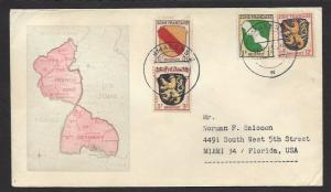GERMANY FRENCH ZONE 1947 PIRMASENS MAP Cachet Cover to USA