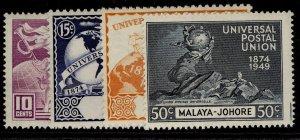 MALAYSIA - Johore GVI SG148-151, anniversary of UPU set, NH MINT.