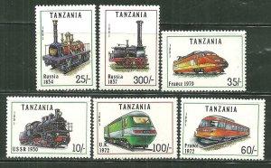 Tanzania MNH 800,802-6 Locomotives