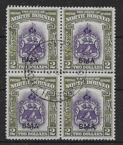 NORTH BORNEO SG333 1945 BMA $2 VIOLET & OLIVE-GREEN USED BLK OF 4