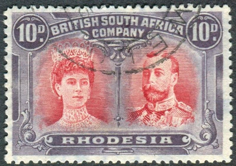 RHODESIA-1910-13 10d Carmine & Deep Purple.  A very fine used example Sg 150