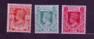 J23694 JLstamps 1938-40 burma part of set mh #18a,23-4 king
