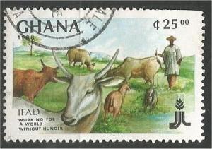 GHANA, 1988, used 25ce Cattle  Scott 1054C