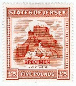 (I.B) Jersey Revenue : Duty Stamp £5 (specimen)