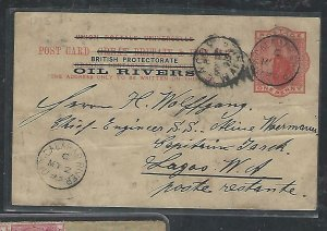 OIL RIVERS COVER (P1211B) 1893 QV 1D PSC OLD CALABAR RIVER TO LAGOS