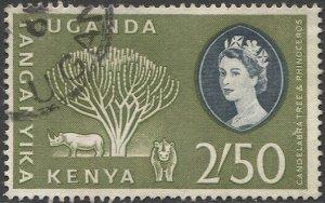 KENYA  UGANDA  TANGANYIKA 1960 Sc 132 2.50s Used VF Tree & Rhino