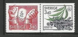 SWEDEN, 1613A, MNH, PAIR, AMNESTY INTL. & INTL PEACE YEAR