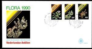 Netherlands Antilles 1990  FDC 217  flora 2 envelopes