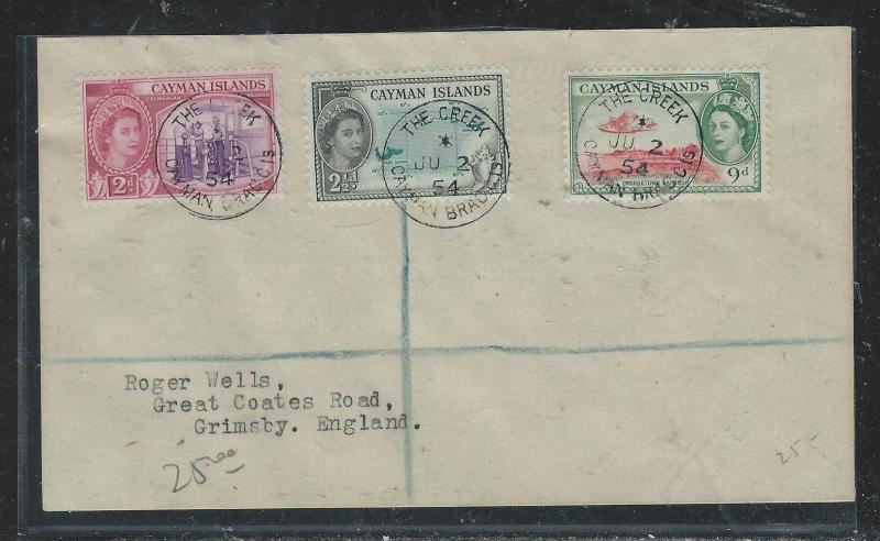 CAYMAN ISANDS (P1706B) 1954 QEII 2D+2 1/2D+9D  THE CREEK  TO ENGLAND