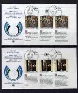UN New York 616-617 Human Rights Plate Blocks UN Postal Administration Set of...
