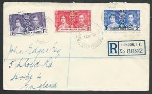 GILBERT & ELLICE 1937 Coronation FDC - registered in transit at London.....25827