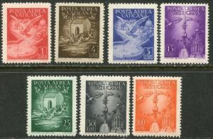 VATICAN Sc#C9-C15 1947 Airmails Complete Set OG Mint NH