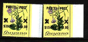 Guyana-Sc#Q1-2-unused NH parcel post set-Flowers-1981-