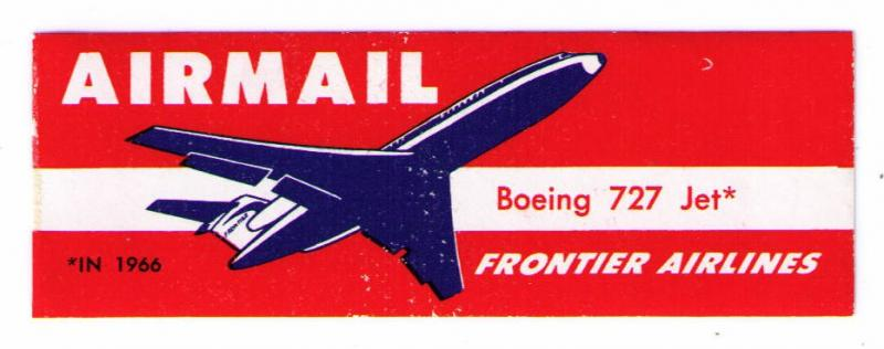 FRONTIER AIRLINES MINT NH SCARCE 1965 AIR MAIL LABEL CAT #USA-B-268, CINDERELLA