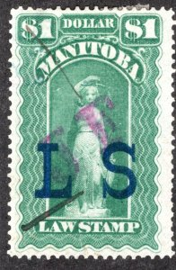 ML81 - Manitoba Law - $1  JF on LS Green, Used Revenue Stamp