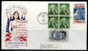 UNITED STATES 1966 BILL OF RIGHTS  COMBINATION FIRST DAY COVER  GREAT FRANKING