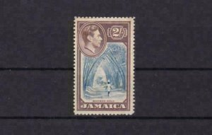 jamaica 1938 mounted mint   2 shilling stamp cat £35  ref r15624
