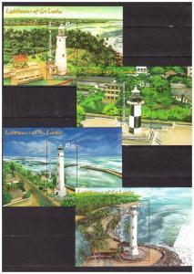 SRI LANKA 2018 Lighthouses 4 souvenir sheets MNH