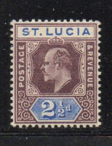St Lucia Sc 46 1902 2 1/2d violet & ultra Edward VII stamp mint